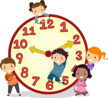 schooler: Illustrazione di Stickman bambini su un grande orologio Archivio Fotografico