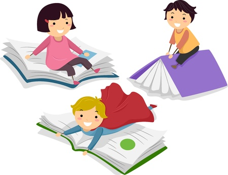 Illustration of Kids on Big Books illustration