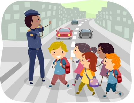 cartoon school girl: Illustration of Kids using the Pedestrian Lane while Crossing the Street Stock Photo