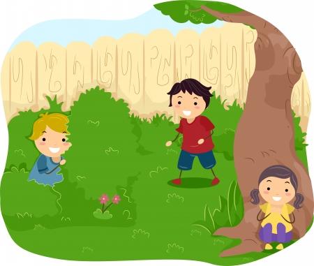 hide and seek: Illustration of Kids playing Hide and Seek