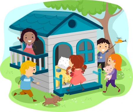 Illustration of Kids Playing on an Outdoor Playhouse Stock Photo