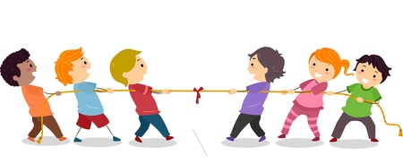 tug war: Illustration of Little Kids playing Tug of War Stock Photo