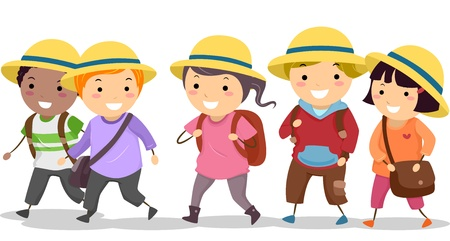 early education: Illustration of Stickman School Kids wearing Uniform Hat Stock Photo