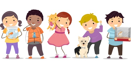Illustration of Stickman Kids with their Pets Stock Illustration - 19110042