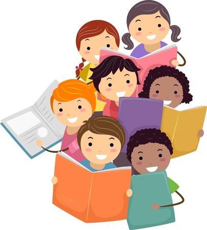 bambini che leggono: Illustrazione di Stickman Bambini che leggono libri Archivio Fotografico