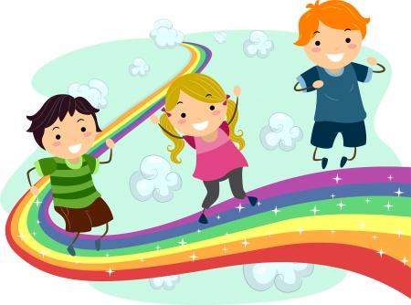 playmates: Ilustraci�n de los peque�os ni�os que disfrutan de su paseo en un arco iris Foto de archivo