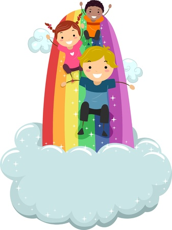 Illustration of Kids sliding on a Rainbow Slide with Clouds illustration