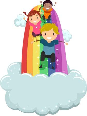 rainbow slide: Illustration of Kids sliding on a Rainbow Slide with Clouds