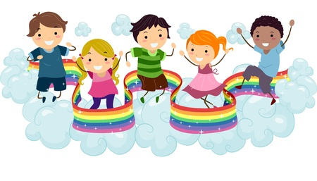 arts and entertainment: Illustration of Kids playing on the Clouds with a Rainbow Strip