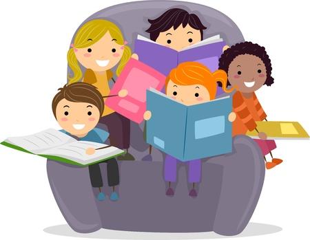 schooler: Illustrazione di ragazzini seduto su una grande sedia leggendo libri