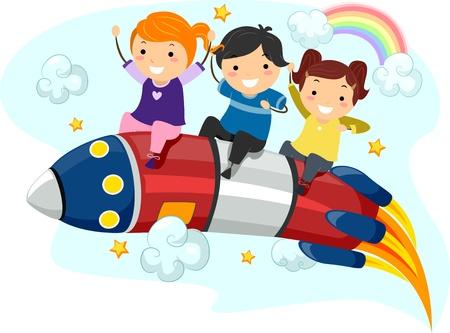 bonhomme allumette: Illustration de petits enfants � cheval sur une fus�e