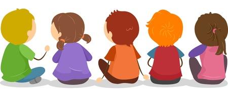 backview: Illustration of Backview of Little Kids Sitting on the Ground