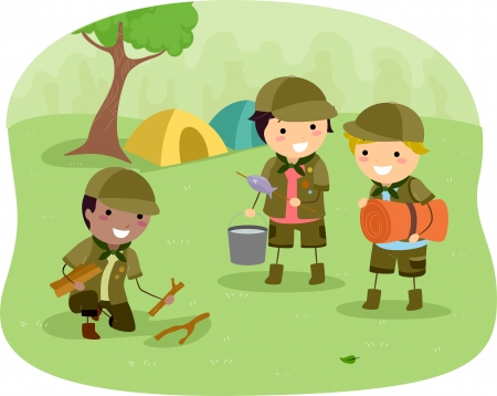sleeping bag: Illustration of Little Boyscouts on the Campsite