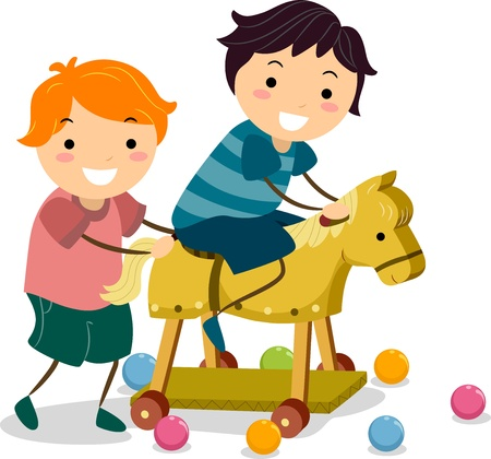 playmates: Ilustración de niños jugando con un caballo de juguete de madera