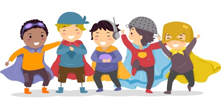 design costume: Illustration of Little Boys in their Superhero Costumes