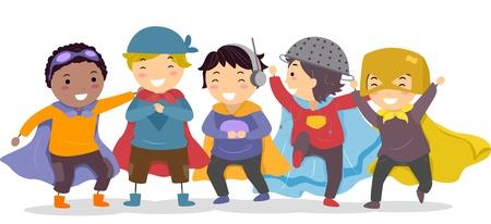 playmates: Ilustraci�n de los ni�os peque�os en sus trajes de superh�roes