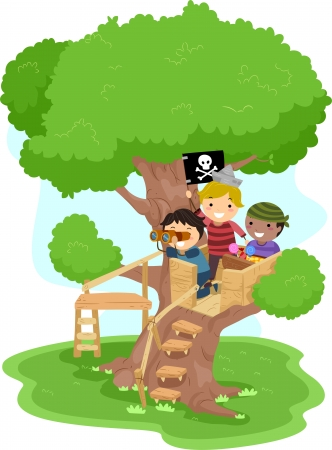 Illustration of Little Boys playing as Pirates on a Tree Stock Photo