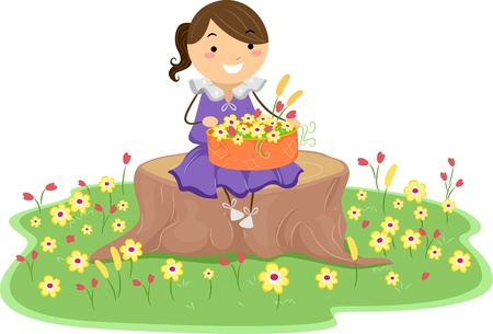 basketful: Illustration of a Little Girl holding a Basket of Flowers while sitting on a Tree Stump