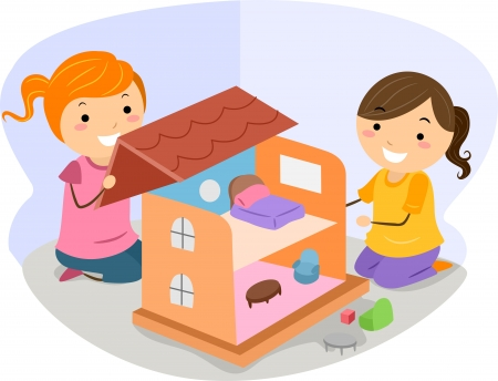 dollhouse: Illustration of Little Girls Playing with a Dollhouse