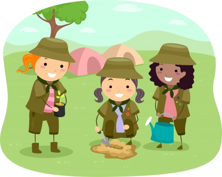 clip arts: Illustration of Little Girlscouts Tree-Planting near the Campsite Stock Photo