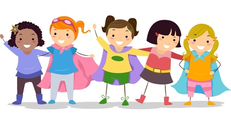 role play: Illustration of Little Girls in their Superhero Costume Stock Photo