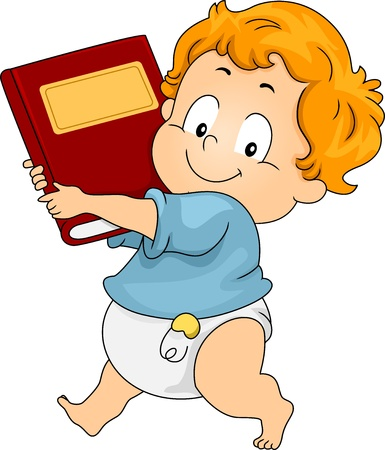 Illustration of a Boy Toddler Carrying a Book