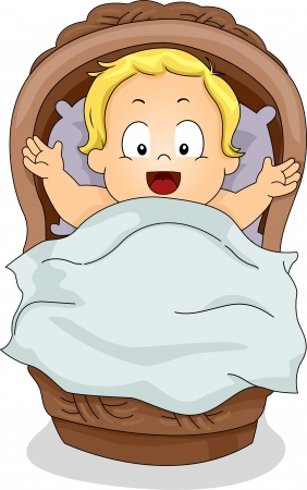 Illustration of a Toddler Boy lying inside a Basket illustration