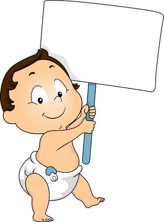 bebe a bordo: Ilustración de un niño Niño que sostiene una tarjeta en blanco