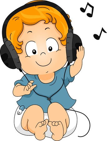 music listening: Illustration of a sitting Toddler Boy using Headphones while listening to Music