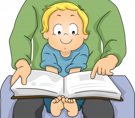 Illustration of a Happy Toddler Boy sitiing on his Father's Lap while his Father Reads a Book illustration