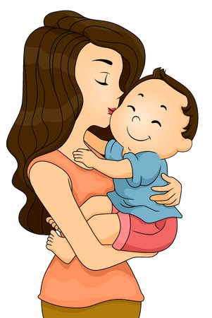 cuddled: Illustration of a Happy Toddler Boy being Kissed and Cuddled by his Mother Stock Photo