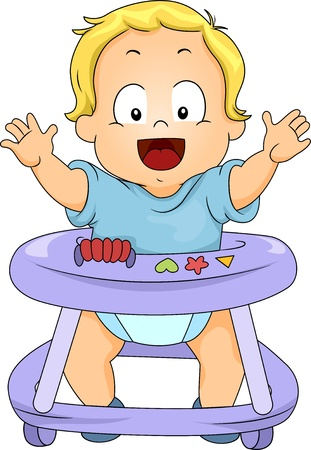 Illustration of Happy Toddler Boy in Baby Walker Stock Photo