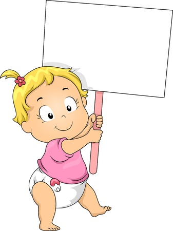 Illustration of a Toddler Girl Holding a Blank Board