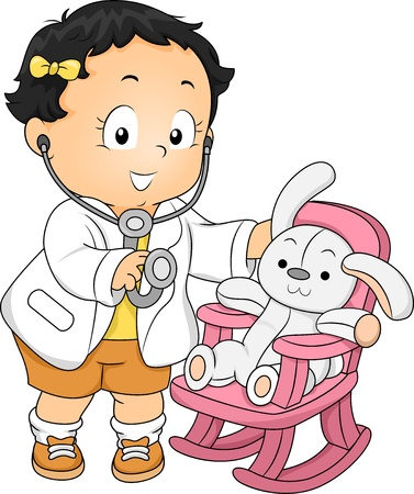 kid doctor: Illustration of a Toddler Girl dressed as a Doctor with his Plush Bunny Patient Stock Photo