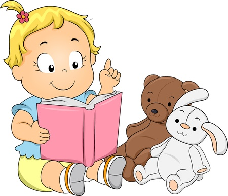 cartoon reading: Illustration of a Happy Toddler Girl Playing Teacher Reading a Book to her Toys