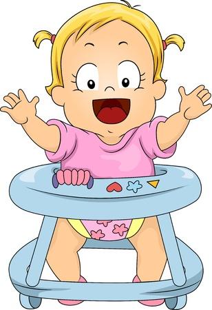 Illustration of Happy Toddler Girl in Baby Walker illustration