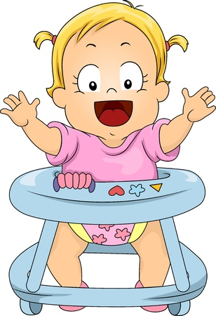 wheeled: Illustration of Happy Toddler Girl in Baby Walker Stock Photo