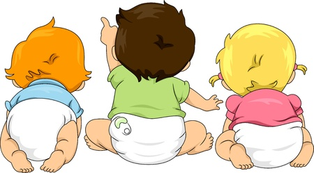 baby girl: Illustration of Back View of Toddlers Looking Up