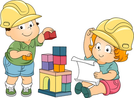 construct: Illustration of Boy and Girl Toddlers Playing Engineers