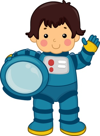 Illustration of an Astronaut Boy carrying his Helmet illustration