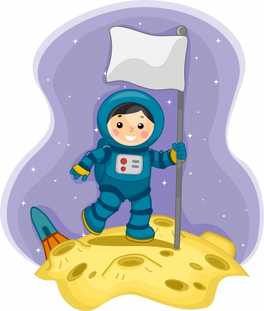 Illustration of an Astronaut Boy planting a Flagpole on the Moon illustration