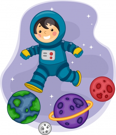 Illustration of an Astronaut Boy Jumping from one Plantet to another illustration