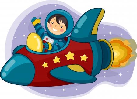 science cartoon: Illustration of an Astronaut Boy Riding a Space Ship
