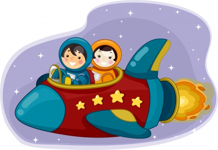 Illustration of Boy and Girl Astronauts riding a Space Ship illustration