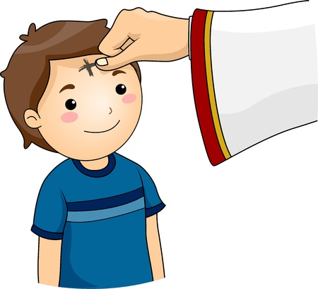 forehead: Illustration of a Boy having a Cross Mark on his Forehead for the observance of Ash Wednesday