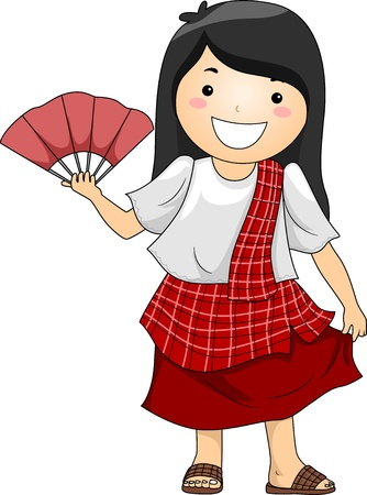 filipina: Illustration of a Happy Little Girl wearing Traditional Philippine Costume Barot Saya with Abaniko