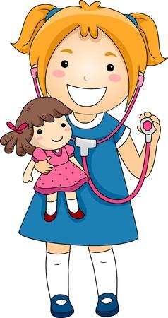 niños enfermos: Ilustración de una niña jugando médico con un estetoscopio con un paciente Doll Rad