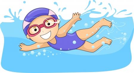 natacion: Ilustración de una niña Nadar con gorras y gafas de natación sumergido en el agua