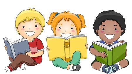 niños leyendo: Ilustración de los niños felices de estar mientras los libros de lectura Foto de archivo