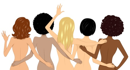 naked woman  white background: Illustration showing Back View of Nude Multi-racial Girls on the Beach